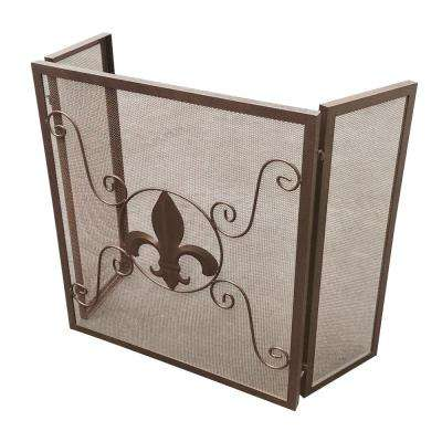 Fleur De Lis Light Bronze 3-Panel Fireplace Screen