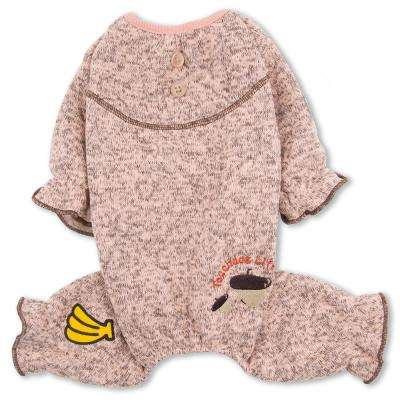 X-Small Pink Bark-Zz Designer Soft Cotton Full Body Thermal Pet Dog Jumpsuit Pajamas