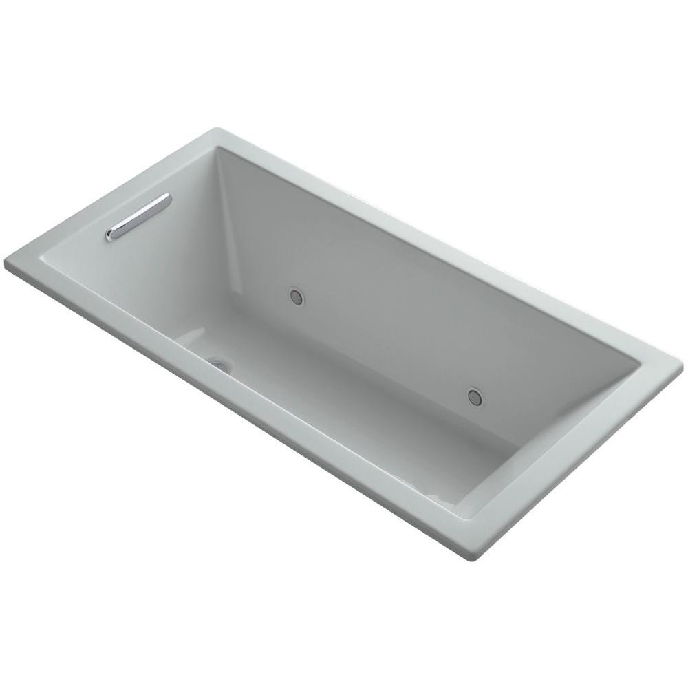 KOHLER Underscore 5 ft. Reversible Drain Soaking Tub in Ice Grey