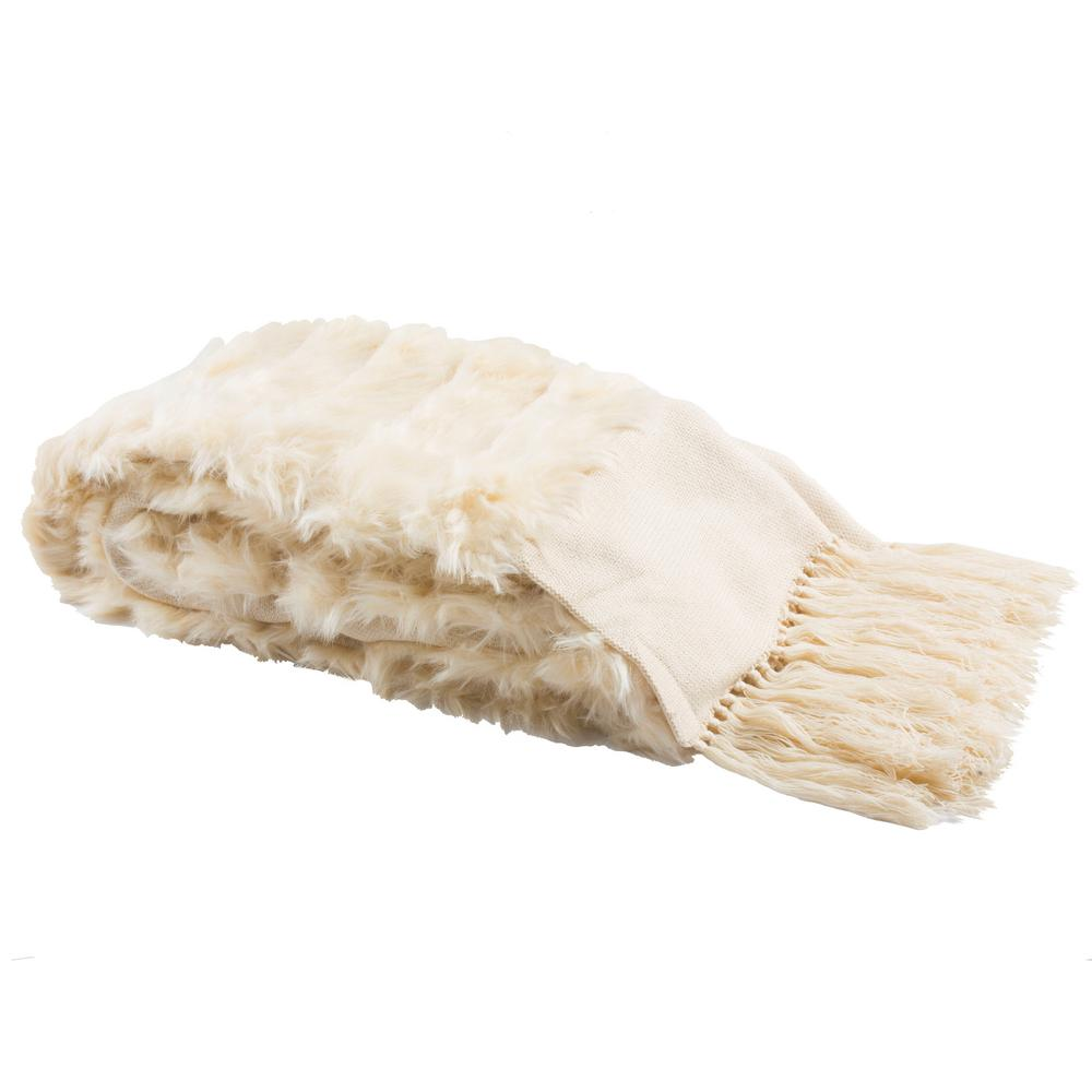 Details About Faux Fur Throw Blanket Bed Runner Cream Sofa Cover Plush Acrylic Soft Decorative