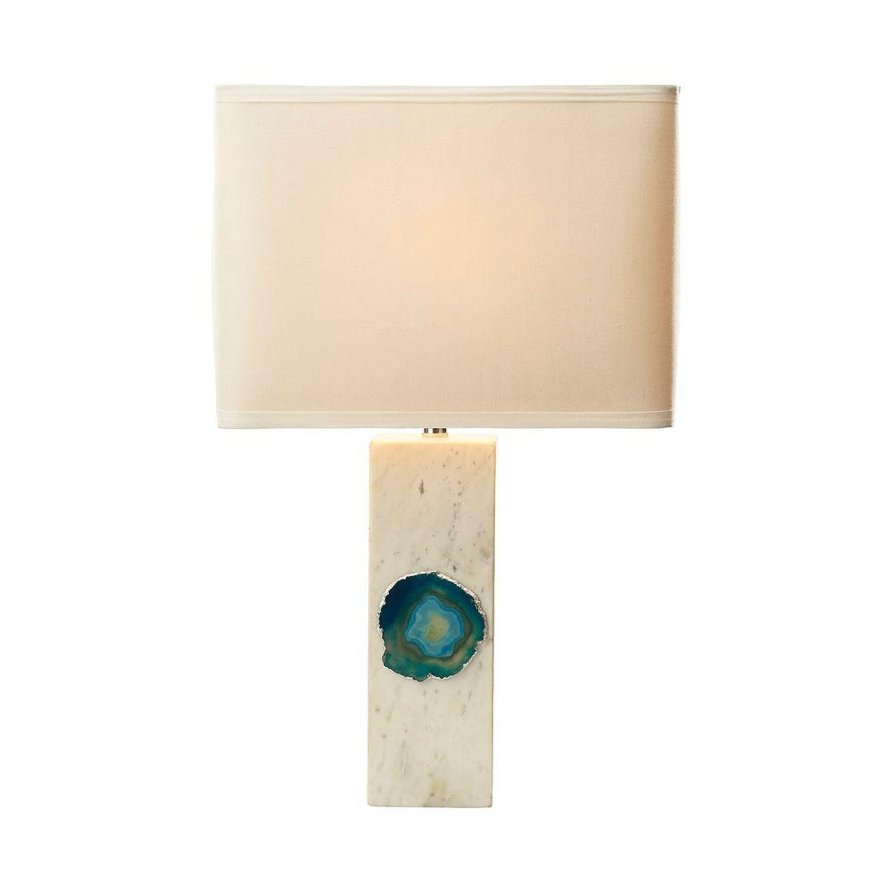 White Marble And Blue Agate Table Lamp