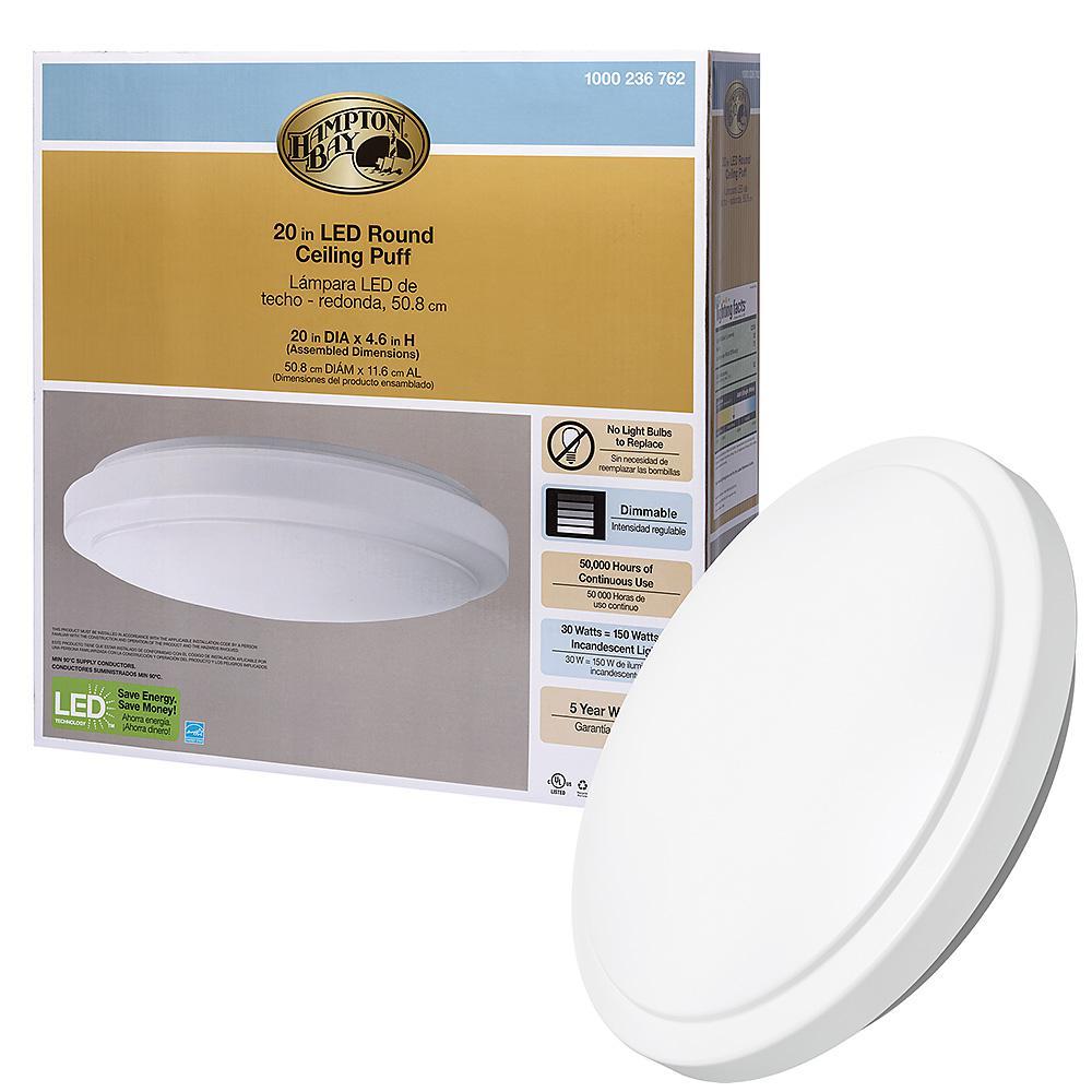 Hampton Bay Dimmable 20 in. Round White LED Flush Mount Ceiling Light Fixture 2200 Lumens 4000K Bright White