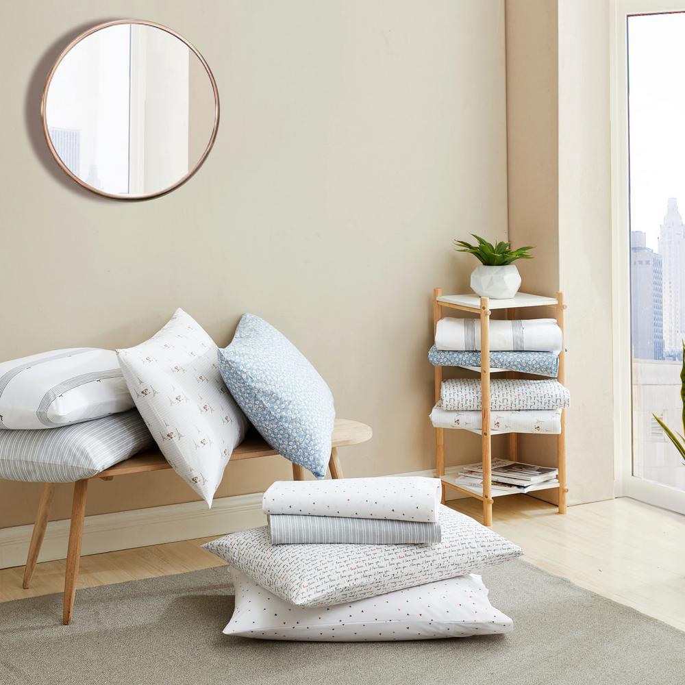 Ed Ellen Degeneres Linen Texture 4 Piece Gray Stripe T200 Cotton Queen Sheet Set Ushsa01168416 The Home Depot