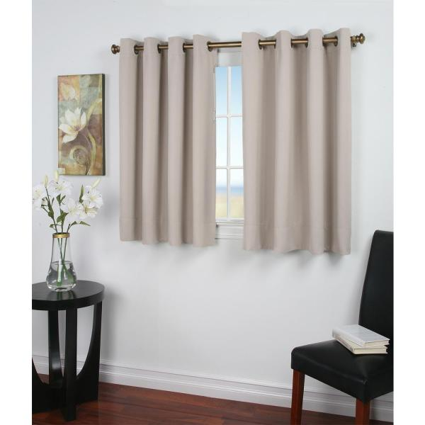 Ultimate Blackout 56 in. W x 45 in. L Polyester Short Length Blackout Window Panel in Putty