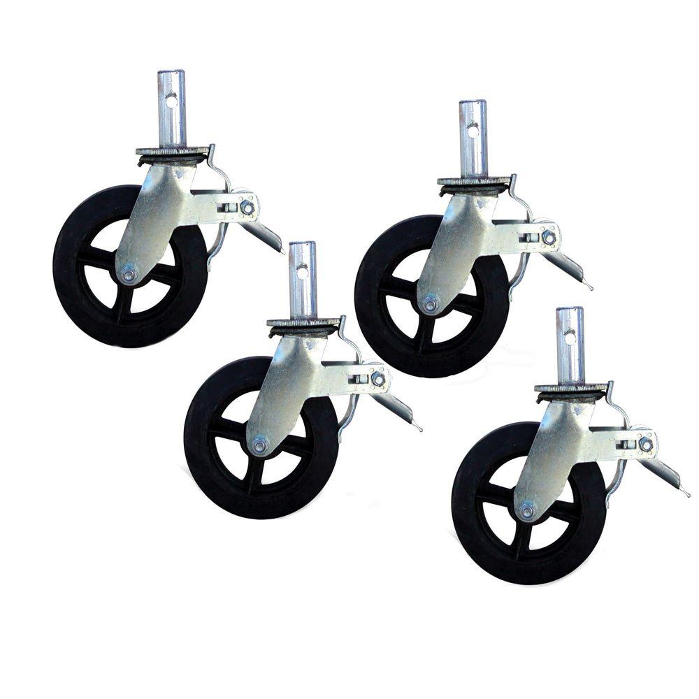 PRO-SERIES 8 in. Caster with Foot Brake 2000 lb. Load Capacity (4-Pieces)