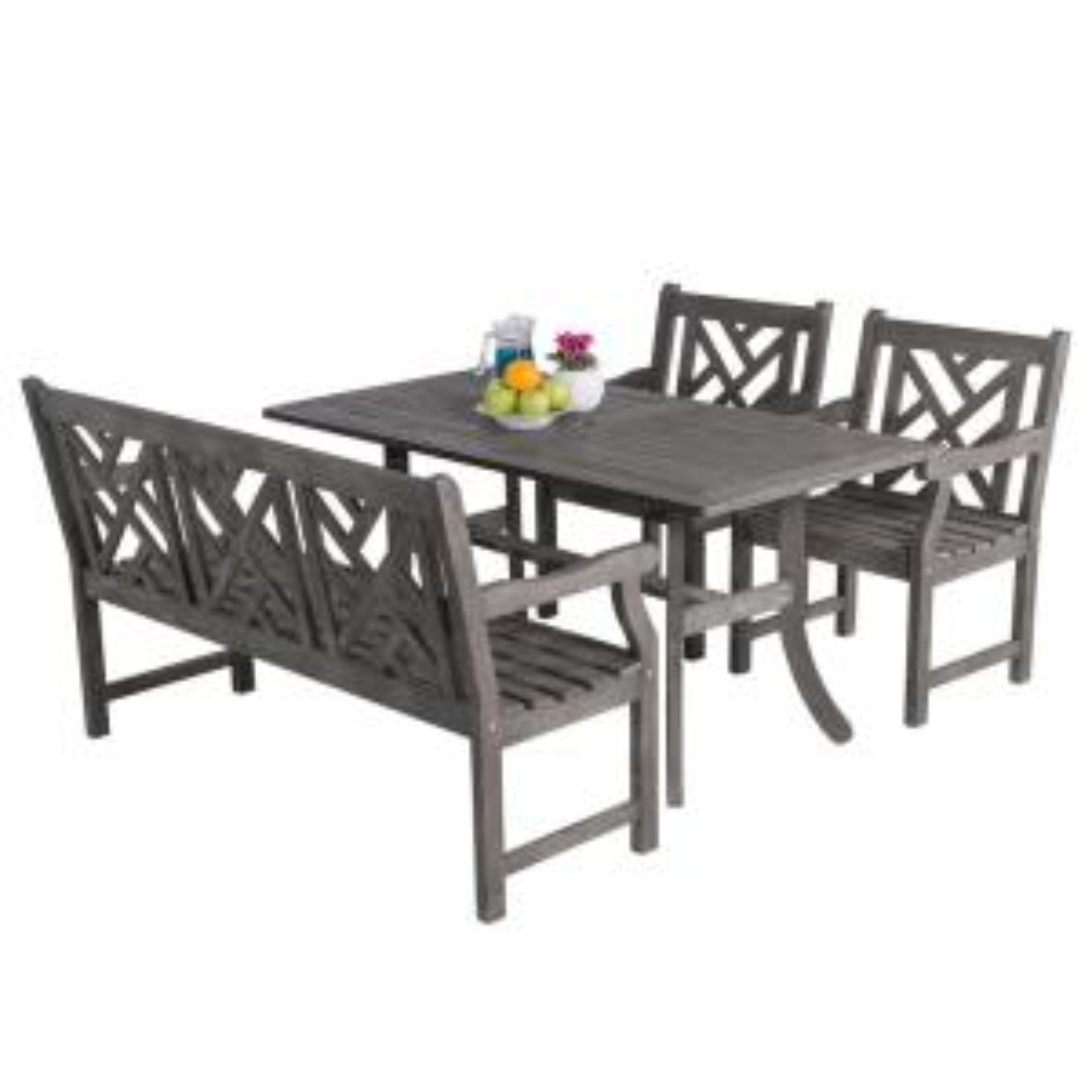 Renaissance Acacia 4-Piece Patio Dining Set with Rectangular Extension Table