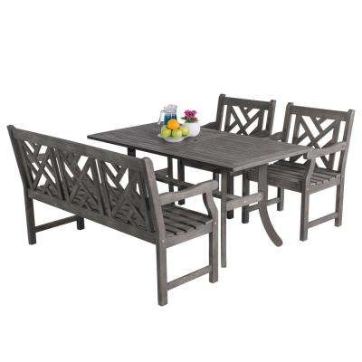 Renaissance Acacia 4-Piece Patio Dining Set with Rectangular Extension Table