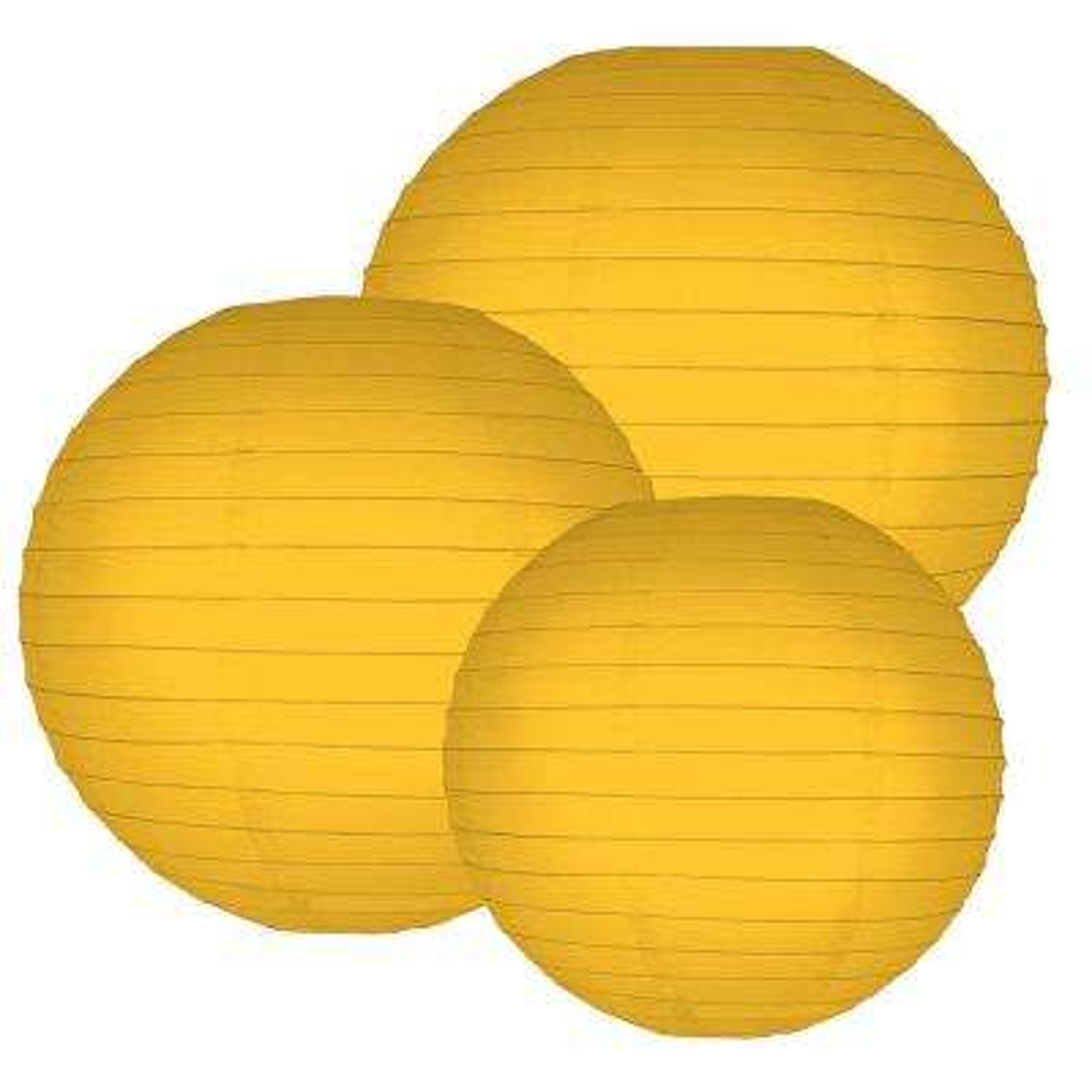 Multi Size Sun Flower Orange Paper Lanterns (6-Count)