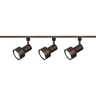 3-Light R30 Russet Bronze Step Cylinder Track Lighting Kit