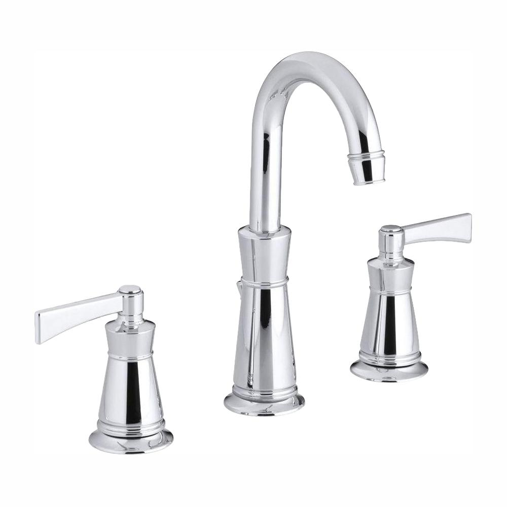 KOHLER Archer 8 in  Widespread 2-Handle Mid-Arc Water-Saving Bathroom  Faucet in Polished Chrome