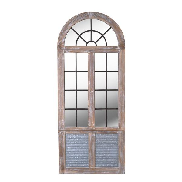 Oversized Arch Distressed Wood Antiqued Classic Mirror (63 in. H x 26 in. W)
