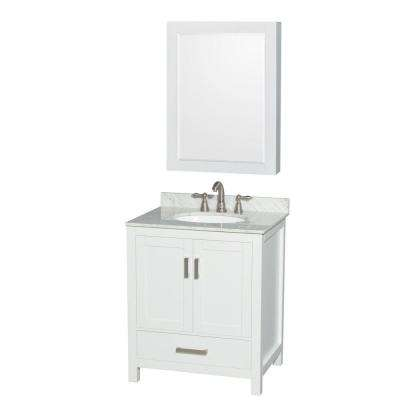 Sheffield 30 in. W x 22 in. D Vanity in White with Marble Vanity Top in Carrara White with White Basin and Mirror