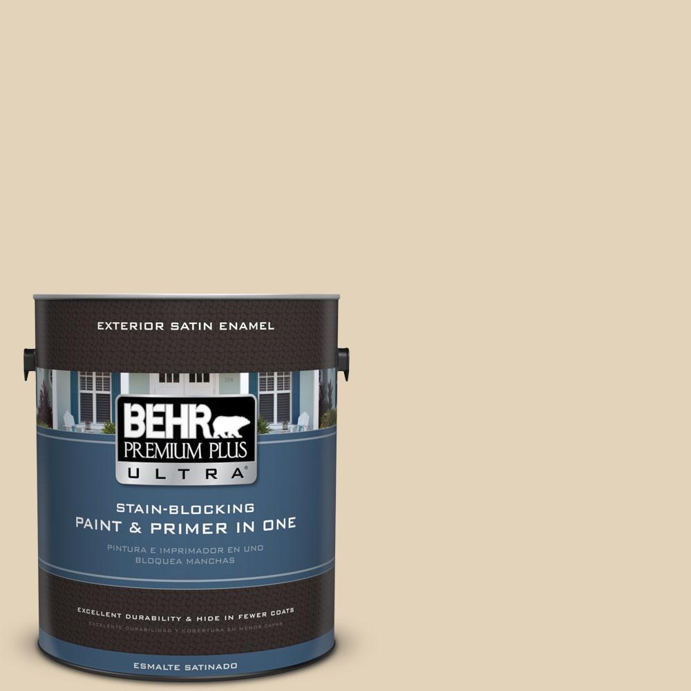 1-gal. #BXC-50 Stucco White Satin Enamel Exterior Paint