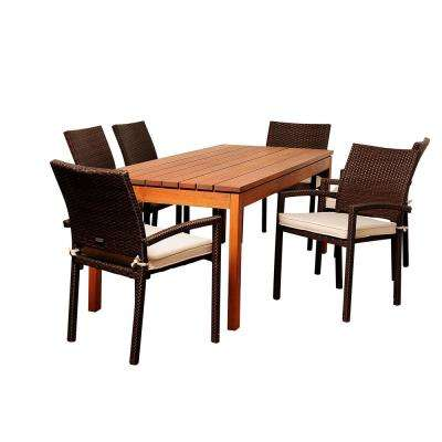 Maynard 7-Piece Wood Outdoor Dining Set with Beige Cushions