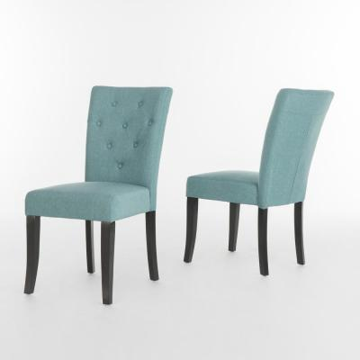 Nyomi Blue Fabric Tufted Dining Chair (Set of 2)