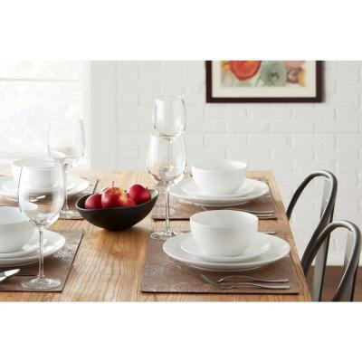 StyleWell 16-Piece White Ceramic Coupe Dinnerware Set (Service for 4)