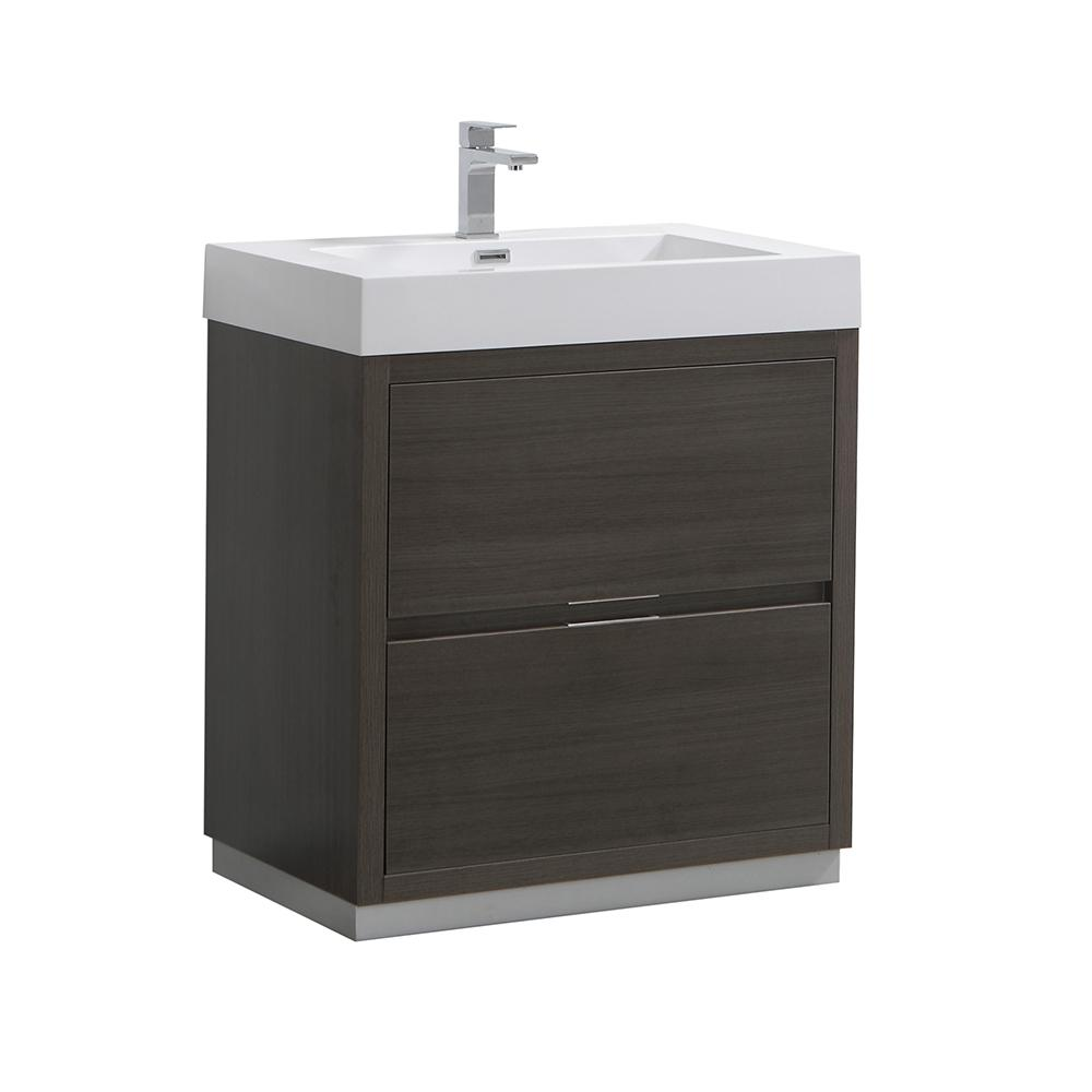 Valencia 30 in. W Bathroom Vanity in Gray Oak with Acrylic
