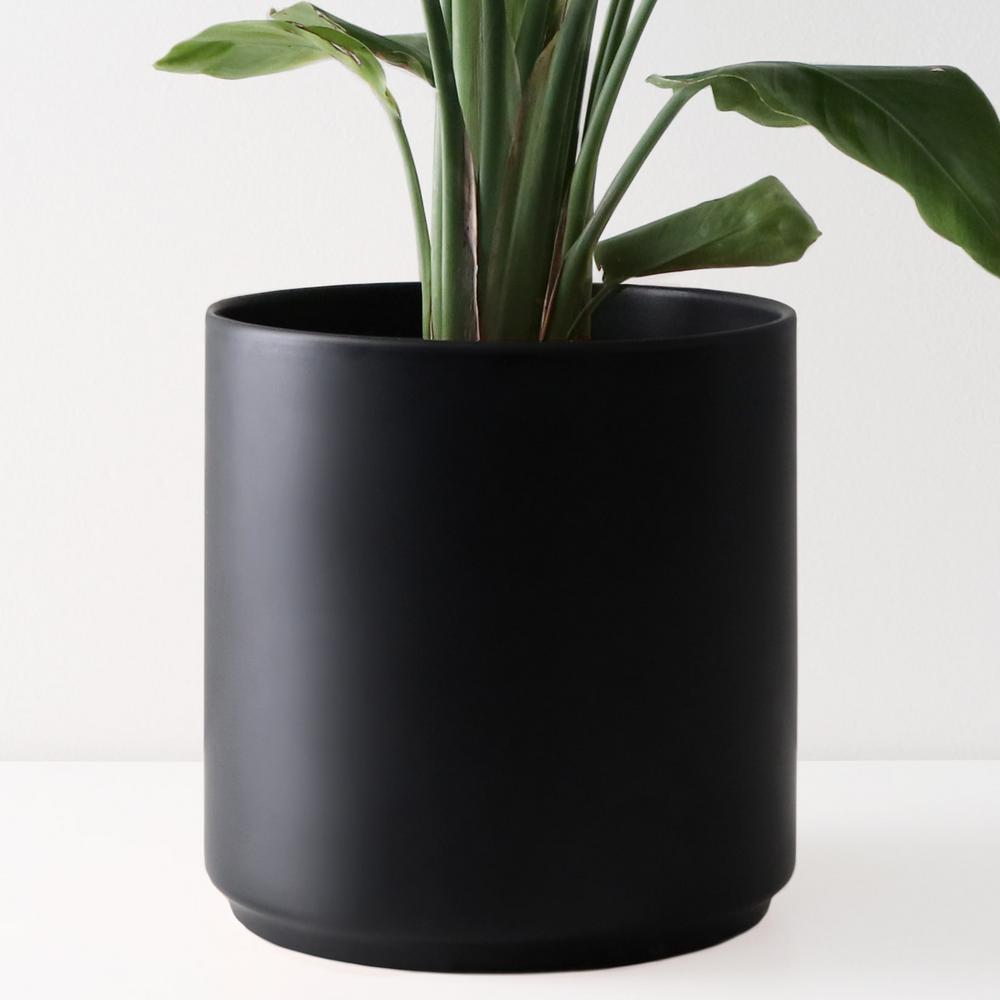 15 in. Black Ceramic Indoor Planter