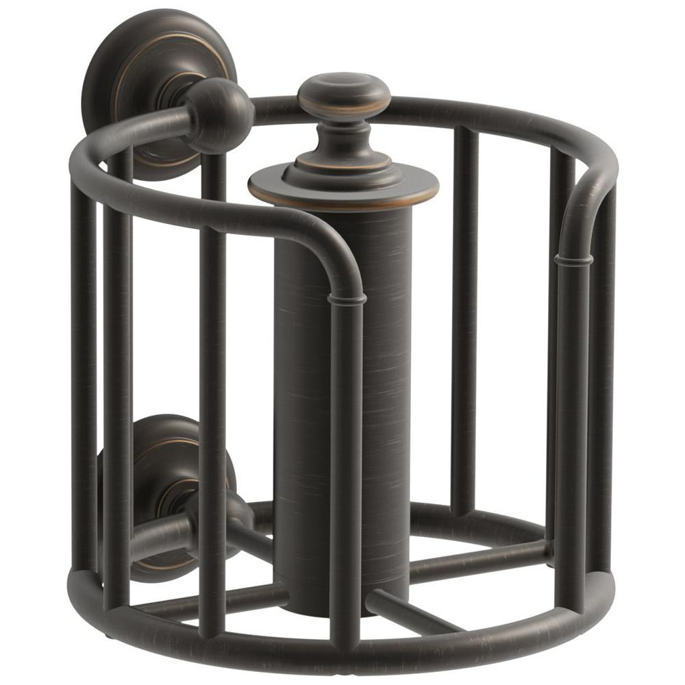 kohler artifacts double post toilet paper holder in oil rubbed bronze k 72576 2bz the home depot. Black Bedroom Furniture Sets. Home Design Ideas