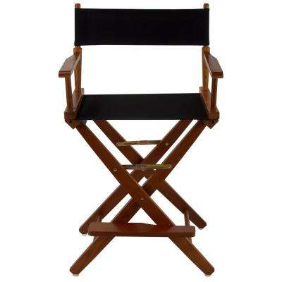 24 in. Extra-Wide Mission Oak Wood Frame/Black Canvas Seat Folding Directors Chair