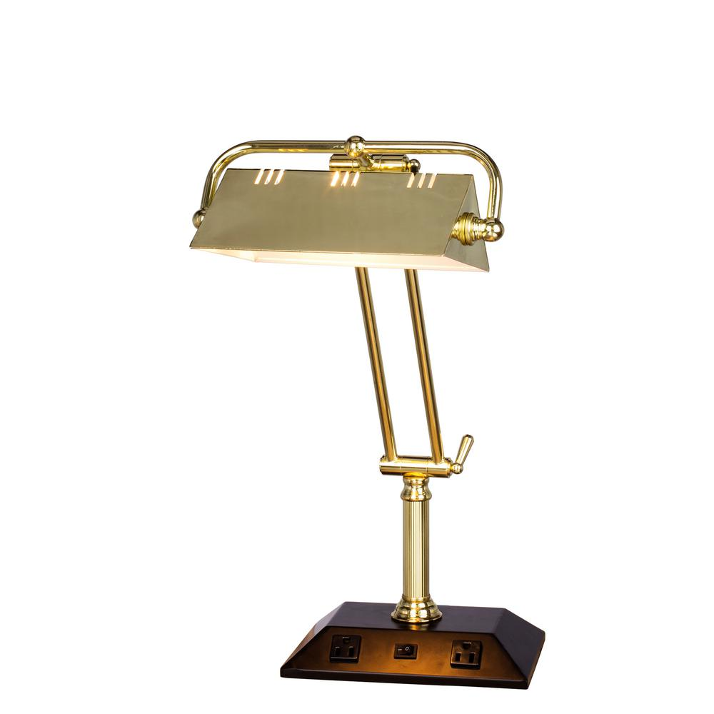 Fangio lighting 24 in adjustable satin brass tech table lamp with 2 adjustable satin brass tech table lamp with 2 base outlets aloadofball Images