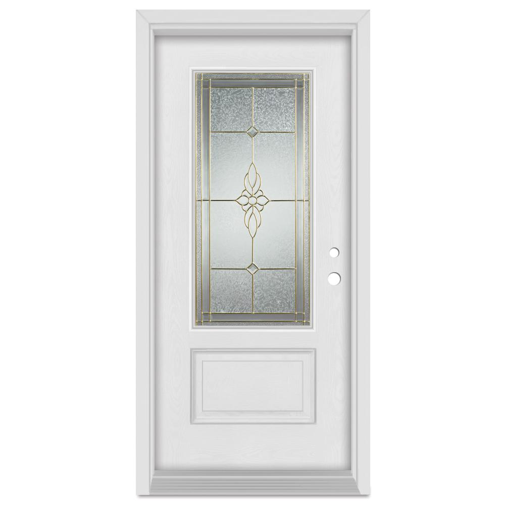 Stanley Doors 37.375 in. x 83 in. Victoria Left-Hand Brass Finished Fiberglass Mahogany Woodgrain Prehung Front Door Brickmould