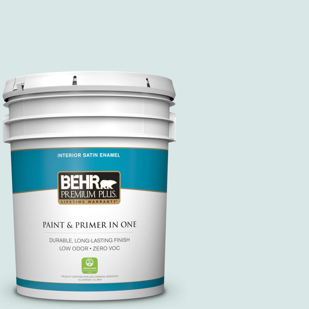 BEHR Premium Plus 5-gal. #500E-2 Aqua Breeze Zero VOC Satin Enamel Interior Paint