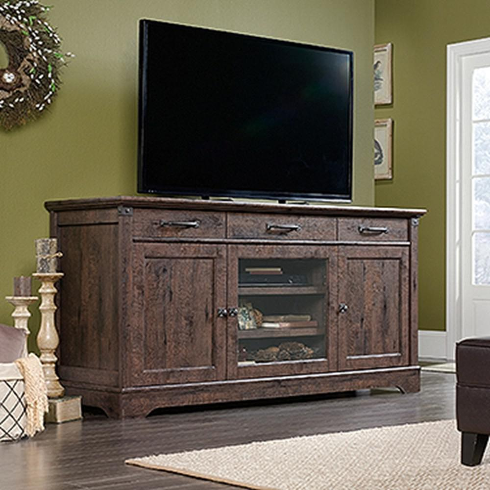 Sauder Carson Forge Coffee Oak 70 In Tv Entertainment Center 422156