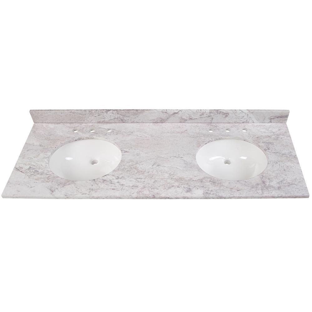 Home Decorators Collection 61 in. W x 22 in. D Stone Effects Double Sink Vanity Top in Winter Mist with White Sinks