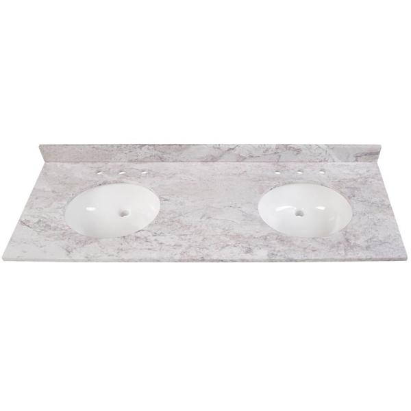 61 in. W x 22 in. D Stone Effects Double Sink Vanity Top in Winter Mist with White Sinks