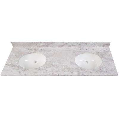 61 in. W x 22 in. D Stone Effects Double Basin Vanity Top in Winter Mist with White Basins