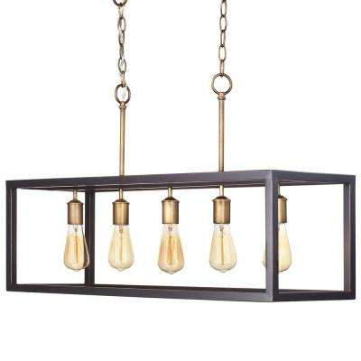 Boswell Quarter Collection 5-Light Vintage Brass Island Chandelier with Painted Black Distressed Wood Accents