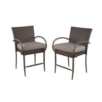 Posada Balcony Height Patio Dining Chair with Gray Cushion (2-Pack)
