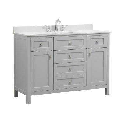 Juniper 48 in. W x 21 in. D Bath Vanity in Dove Gray with Engineered Marble Vanity Top in Yves White with White Basin