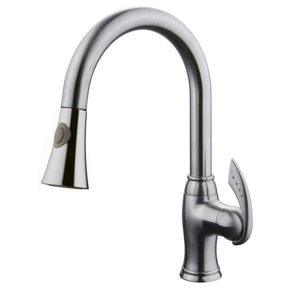 Yosemite Home Decor Single-Handle Pull-Out Sprayer Kitchen Faucet in Brushed Nickel