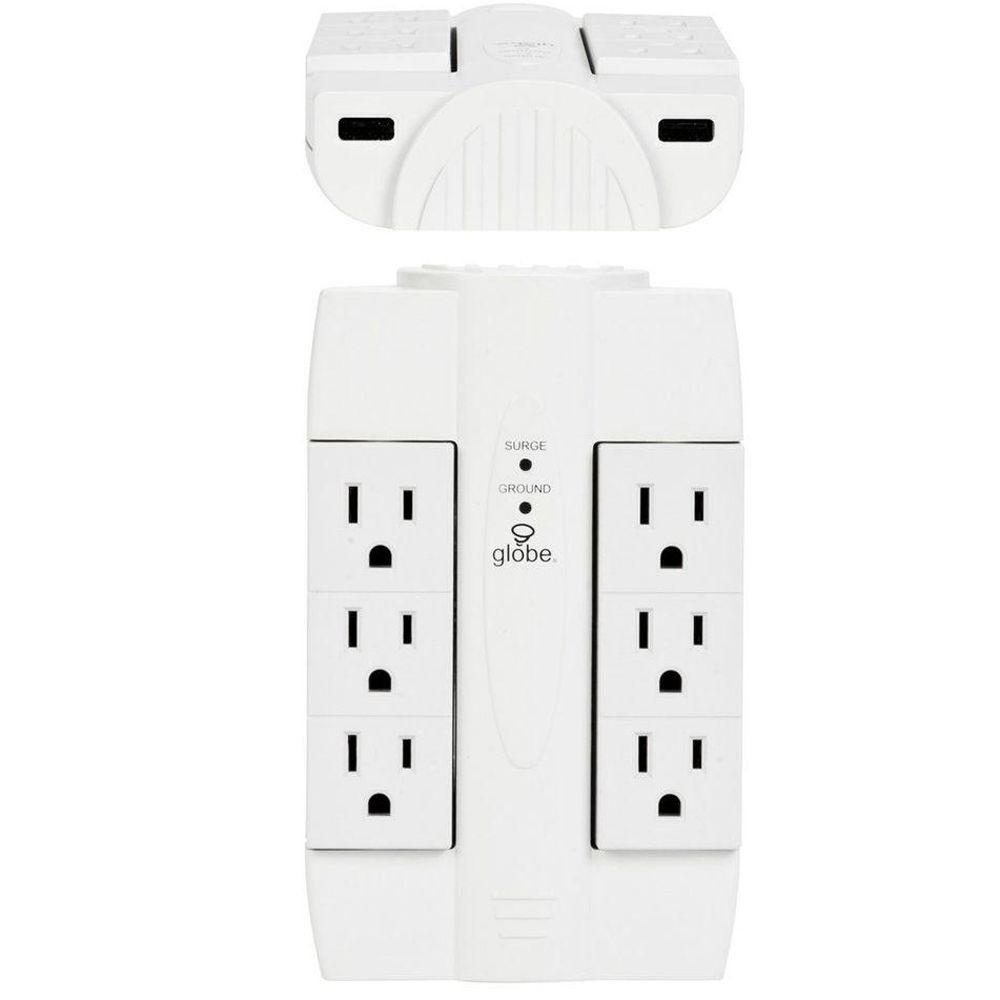 Globe Electric 6-Outlet Swivel Surge Tap With 2 USB Ports 2.1-Amp (Combined) with Surge Protection - White