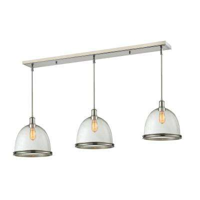 Memphos 3-Light Brushed Nickel Billiard Light with Clear Seedy Glass Shade