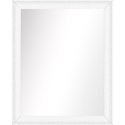 Medium Rectangle White Art Deco Mirror (32.375 in. H x 26.375 in. W)