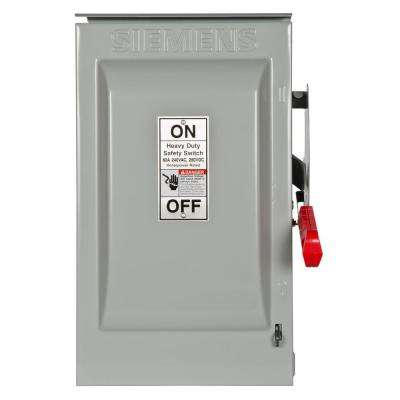 Heavy Duty 60 Amp 240-Volt 2-Pole Outdoor Fusible Safety Switch with Neutral