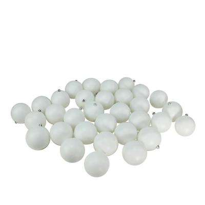 Matte Winter White Shatterproof Christmas Ball Ornaments (32-Count)