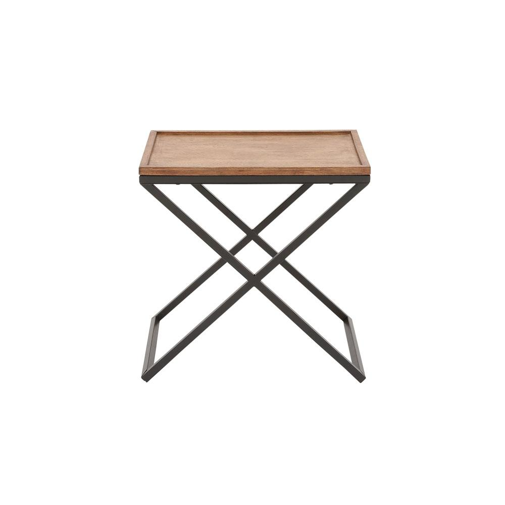 Litton Lane Brown Wooden Side Table With Black Iron Cross Legs 85463