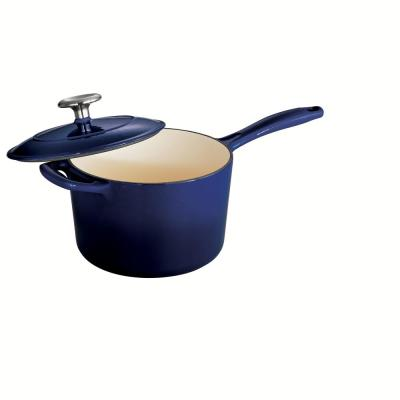 Gourmet 2.5 qt. Enameled Cast Iron Sauce Pan in Gradated Cobalt with Lid