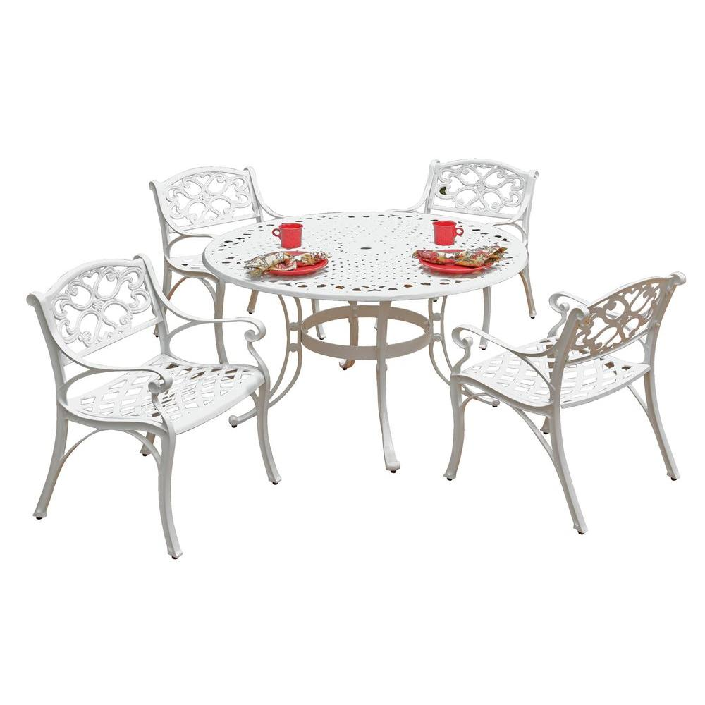 Home Styles Biscayne 42 in. White 5-Piece Round Patio Dining Set with Green Apple Cushions