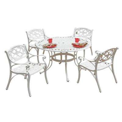 Biscayne 42 in. White 5-Piece Round Patio Dining Set with Green Apple Cushions