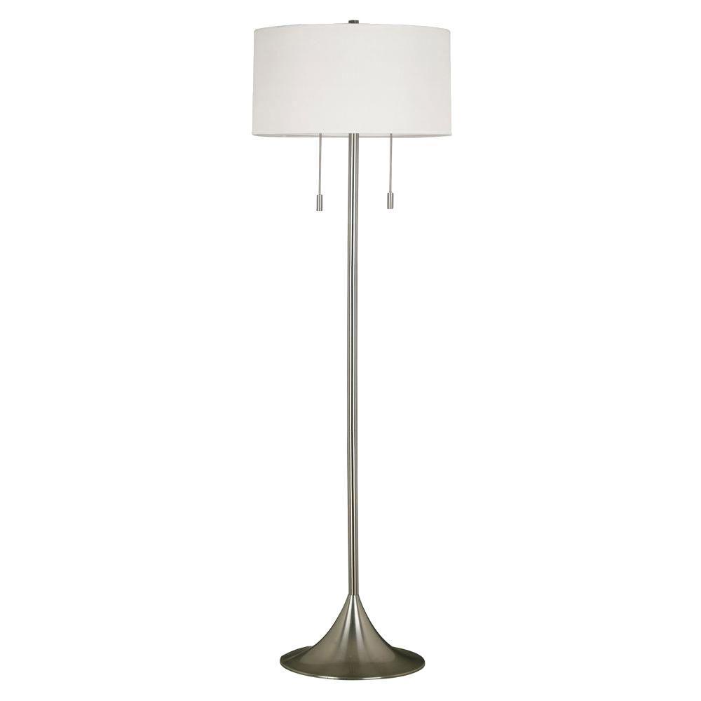 Stowe 2-Light 61 in. Brushed Steel Floor Lamp