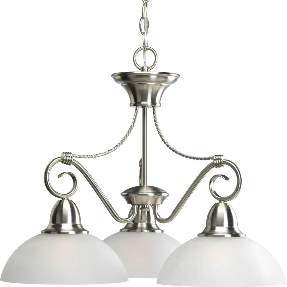 Hardware included chandeliers lighting the home depot pavilion collection 3 light brushed nickel chandelier with shade with etched arubaitofo Gallery