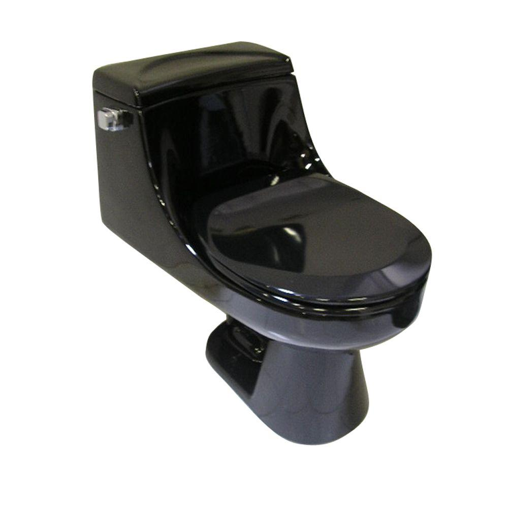 Pegasus Vogue 1-piece 1.6 GPF Round Front Water Closet Toilet in Black