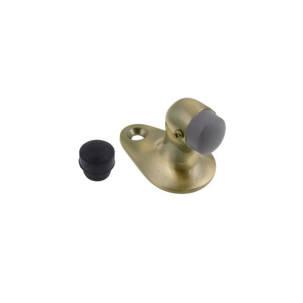 Idh By St Simons Small Solid Brass Floor Mounted Gooseneck Door Stop In Antique Brass 13012 005 The Home Depot