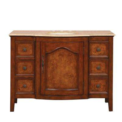 48 in. W x 22 in. D Vanity in Red Oak with Stone Vanity Top in Travertine with Ivory Basin
