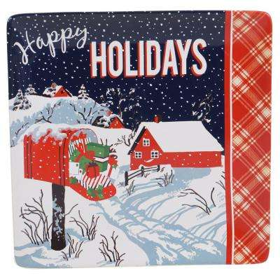 Retro Christmas Earthenware Square Platter